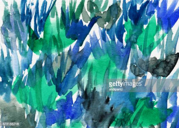 Background with brush strokes hand painted with blue and green
