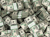 Background with money american hundred dollar bills stacks