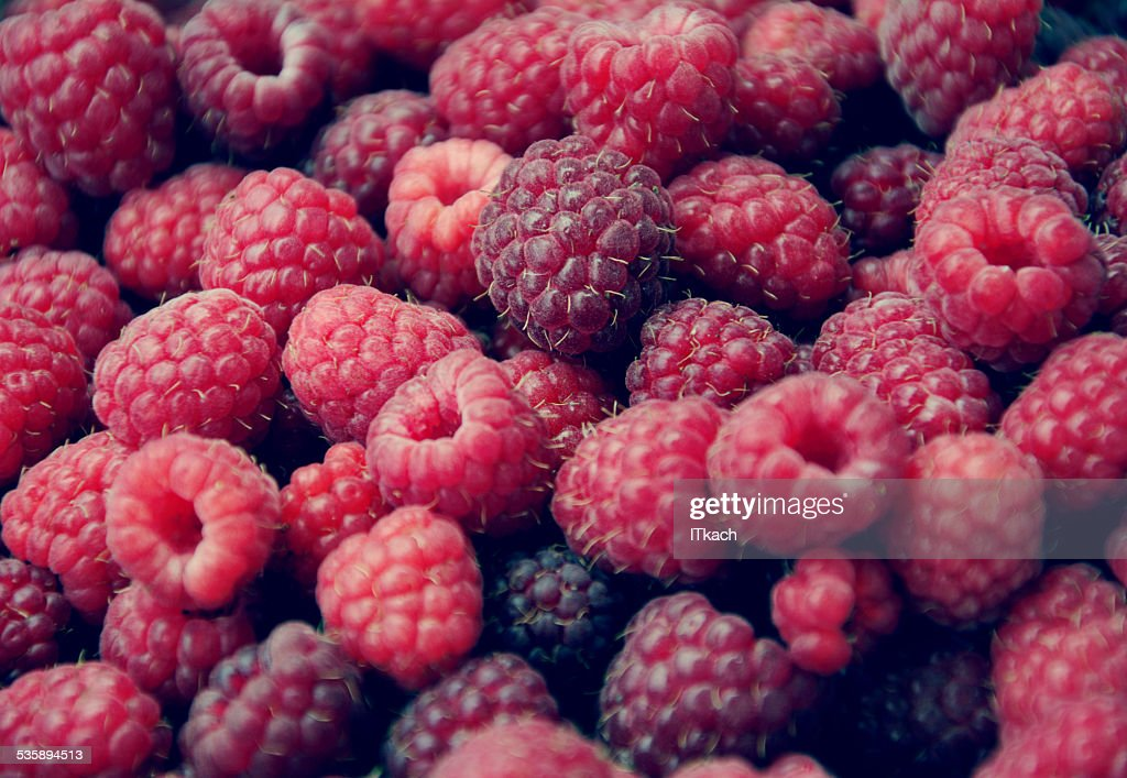 Background with sweet raspberries : Stockfoto