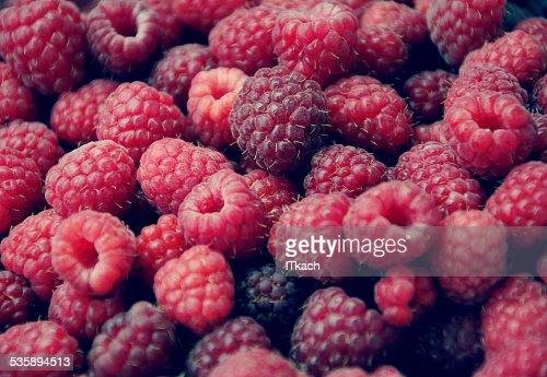 Background with sweet raspberries : Stock Photo