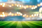 A soccer field with a bokeh background.