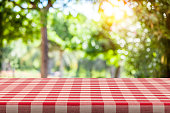 Empty table covered with red and white checkered tablecloth with defocused lush foliage at background. Ideal for product display on top of the table. Predominant color are green and red. DSRL studio p