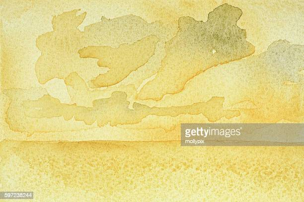 Backgrounds Watercolor Yellow Sky Cloud Textured Paper