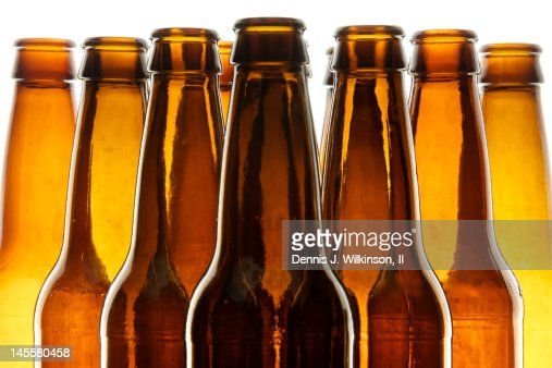 Backlit beer bottles