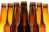Backlit beer bottles