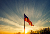 Backlit Flying American Flag