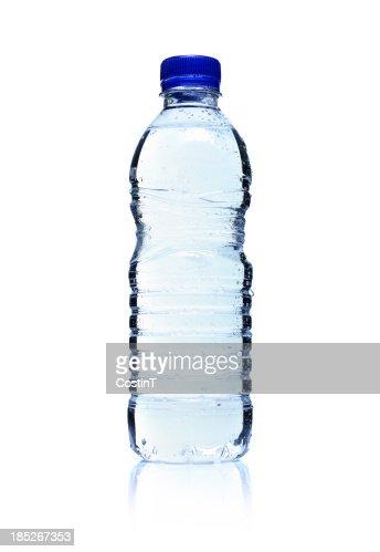 Backlit plastic water bottle. Isolated on white.