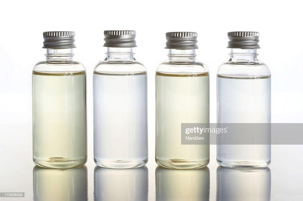 backlit toiletry bottles