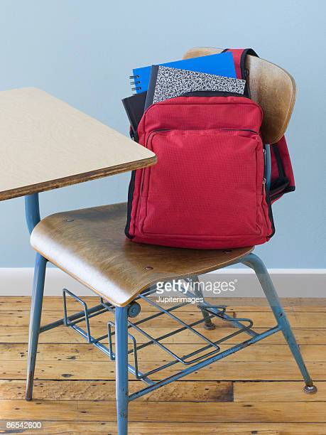 Backpack and notebooks on school desk
