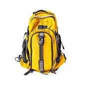A high-resolution image of an isolated yellow-colored rucksack on white background. High-quality clipping path included.