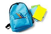 Backpack with school supplies, isolated on white.