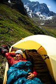 Backpacker camping in Chugach State Park near Anchorage, Alaska.