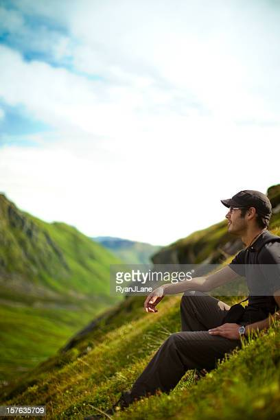 Backpacker In Alaskan Mountain Range