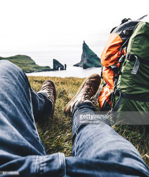backpacker resting at the faroe