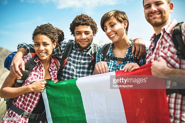 backpacker togetherness with italian flag