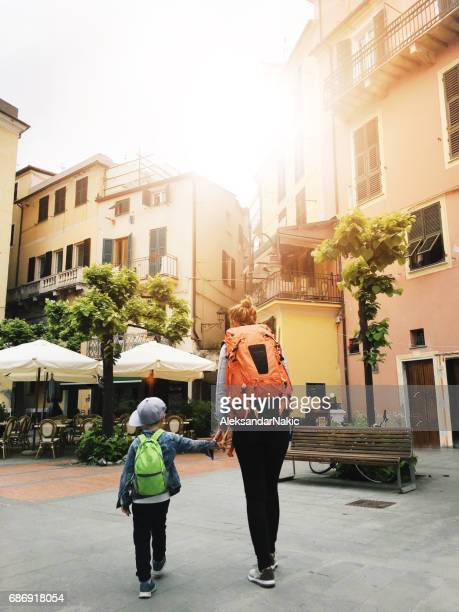 Backpackers exploring Italy
