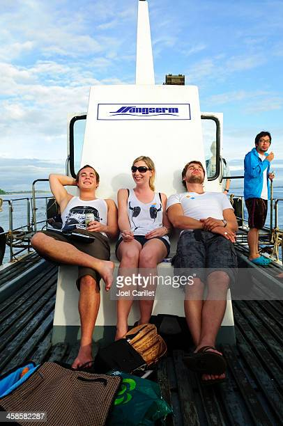 Backpackers in Thailand on ferry to Ko Tao