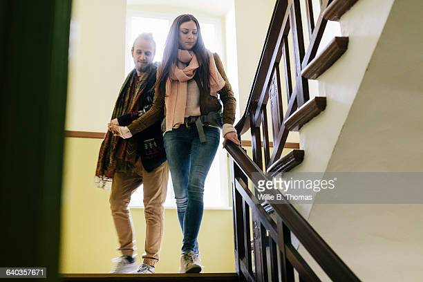 Backpackers leaving Apartment