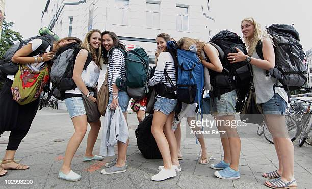 Backpackers of France stand outside the Circus hostel Berlin on July 19 2010 in Berlin Germany Millions of youth people taking a gap year between...