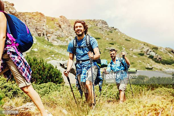 Backpackers on a footpath in the mountain