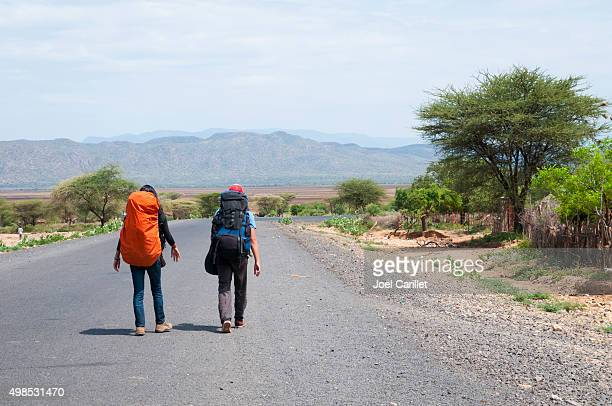 Backpackers on the road in southern Ethiopia
