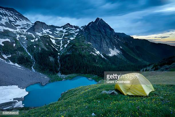 Backpacking at Blue Lakes in the San Juan mountains near Ouray, Colorado.