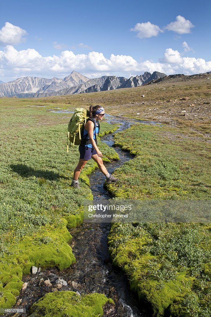 Backpacking in Alpine : Stock Photo