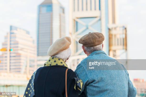 Backs of old couple looking at city view