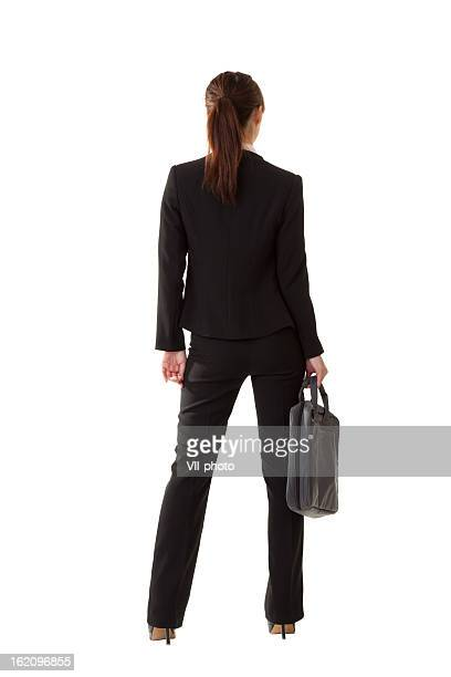 Backside of a businesswoman on white background