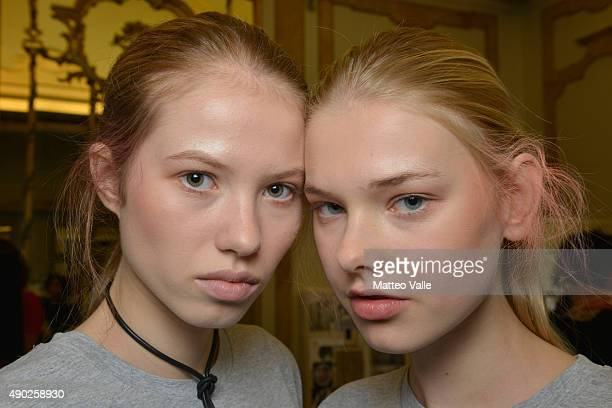 backstage ahead of the Andrea Incontri show during Milan Fashion Week Spring/Summer 2016 on September 27 2015 in Milan Italy