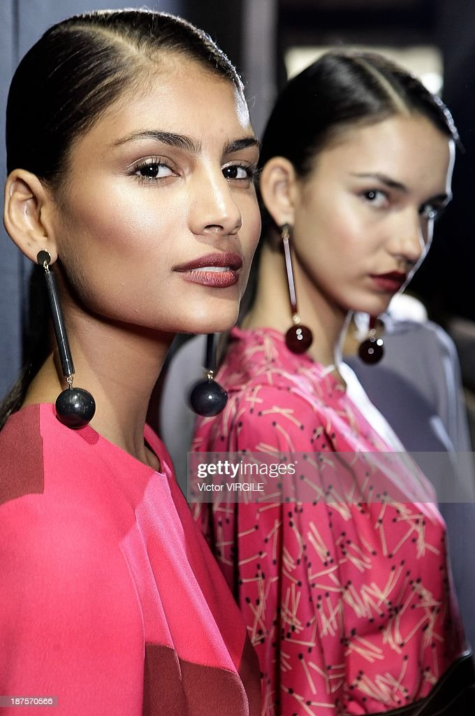 Backstage and atmophere during the Andrea Marques show as part of the Rio de Janeiro Fashion Week Fall/Winter 2014 on November 9, 2013 in Rio de Janeiro, Brazil.