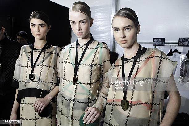 Backstage and atmosphere during Osklen show at the Sao Paulo Fashion Week Winter 2014 on October 28 2013 in Sao Paulo Brazil