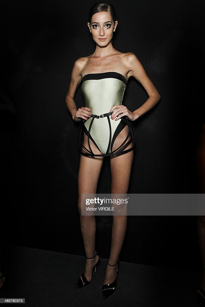 Backstage and atmosphere during the Adriana Degreas show at Sao Paulo Fashion Week Spring Summer 2014/2015 at Parque Candido Portinari on April 2...