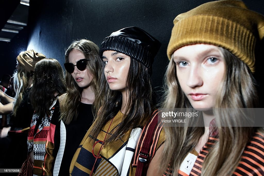 Backstage and atmosphere during the Espaco show as part of the Rio de Janeiro Fashion Week Fall/Winter 2014 on November 9, 2013 in Rio de Janeiro, Brazil.