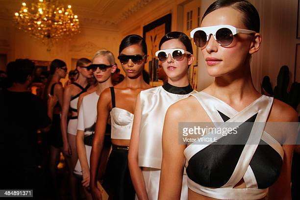 Backstage and atmosphere during the Osklen Praia Fashion show at Rio de Janeiro Fashion Week Spring Summer 2014/2015 on April 8 2014 in Rio de...