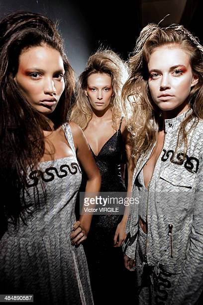 Backstage and atmosphere during the Patricia Viera Fashion show at Rio de Janeiro Fashion Week Spring Summer 2014/2015 on April 8 2014 in Rio de...