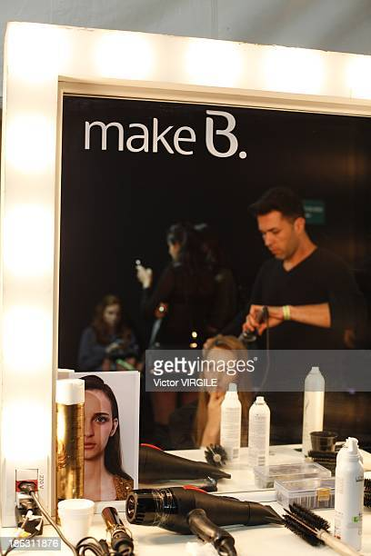 Backstage and atmosphere during the Tufi Duek show at the Sao Paulo Fashion Week Winter 2014 on October 28 2013 in Sao Paulo Brazil