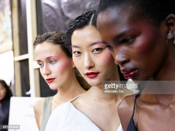 Backstage at Chalayan show as part of the Paris Fashion Week Womenswear Spring/Summer2016 >> on October 2 2015 in Paris France