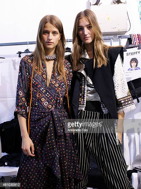 Backstage at Isabel Marant show as part of the Paris Fashion Week Womenswear Spring/Summer2016 >> on October 2 2015 in Paris France