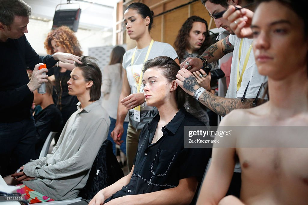 Backstage at the Katie Eary show during The London Collections Men SS16 at Victoria House on June 15 2015 in London England