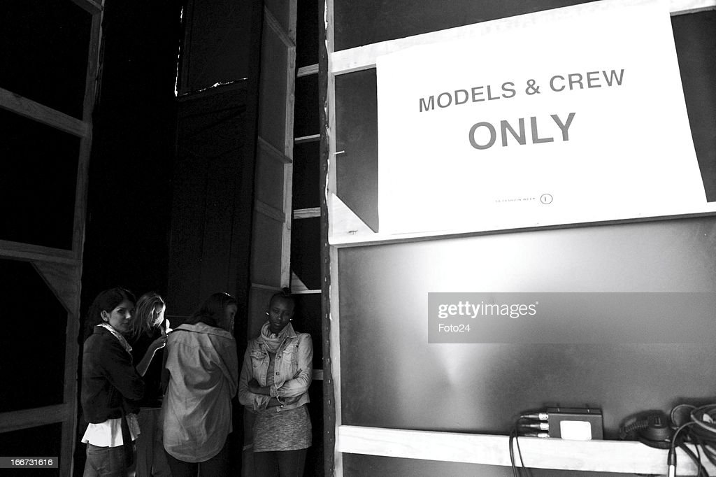 Backstage at the Kottin & Twille show during SA Fashion Week at the Crowne Plaza on April 12, 2013, in Johannesburg, South Africa.