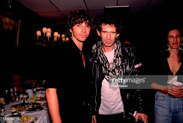 Backstage at the Rolling Stones' 'Steel Wheels' tour British musician Keith Richards of the Rolling Stones poses with Australian musician Michael...