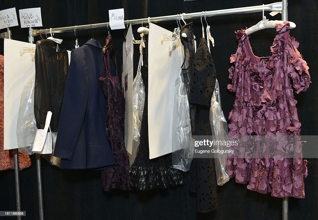 Backstage atmosphere at the Jill Stuart show during Fall 2013 Mercedes-Benz Fashion Week at The Stage at Lincoln Center on February 9, 2013 in New York City.
