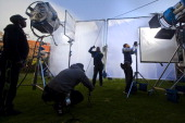 Backstage crew rigg lighting on the set of the new Spud movie on May 27 in Cape Town South Africa Filming took place at a couple of the school in and...