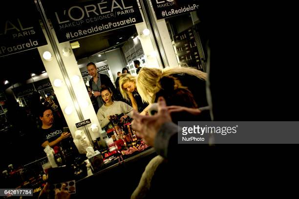 Backstage during MercedesBenz Madrid Fashion Week Autumn/Winter at IFEMA on February 17 2017 in Madrid Spain