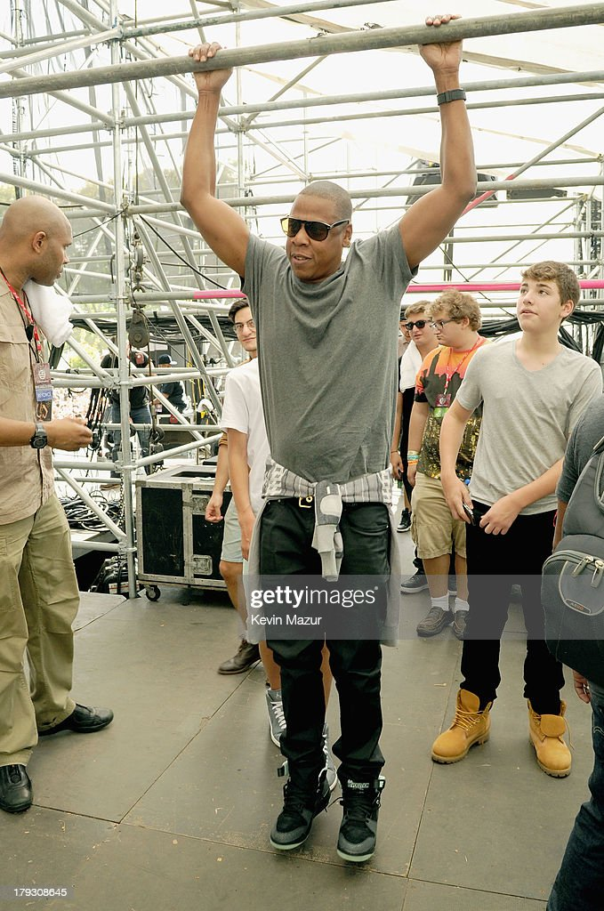 JAY Z backstage during the 2013 Budweiser Made In America Festival at Benjamin Franklin Parkway on September 1, 2013 in Philadelphia, Pennsylvania.