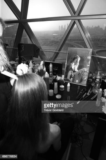 Backstage models model enjoys view while getting ready for day 5 at Arab Fashion Week Ready Couture Resort 2018 on May 20 2017 at Meydan in Dubai...