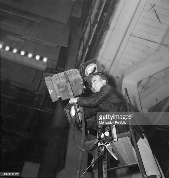 Backstage of the premiere of the 'cantata scenica' Trionfo di Afrodite by Carl Orff conducted by Herbert von Karajan at Teatro alla Scala A...