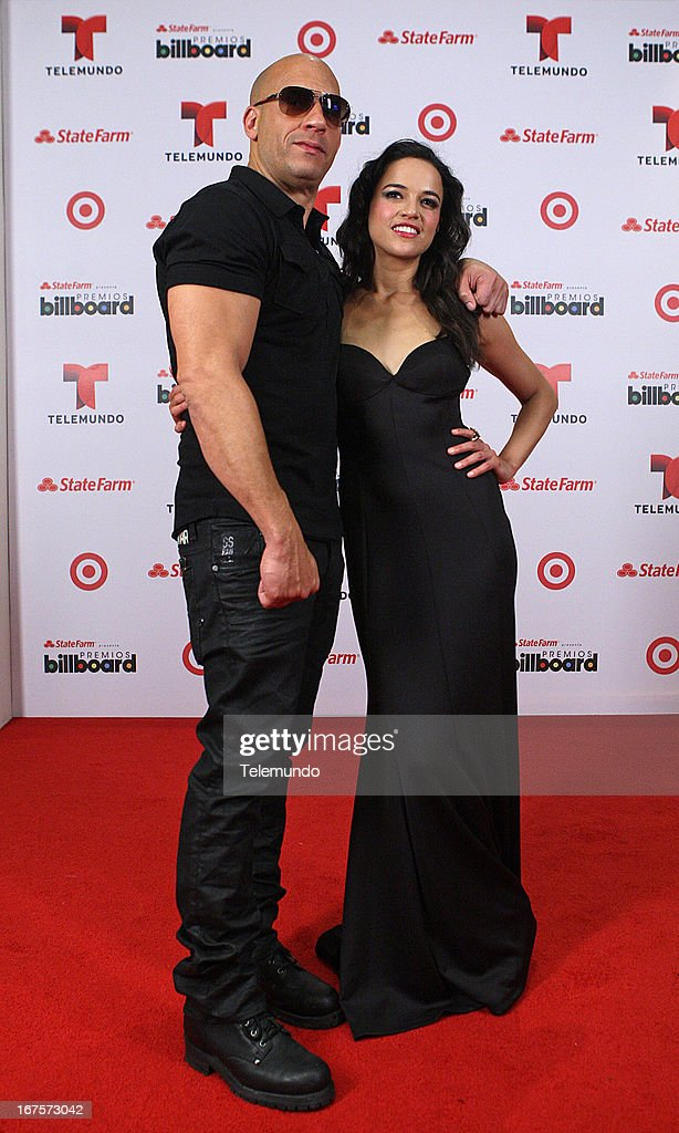 Actor Vin Diesel and Michelle Rodriguez backstage during the 2013 Billboard Latin Music Awards held at the BankUnited Center, University of Miami in Miami, Florida on April 25, 2013 --