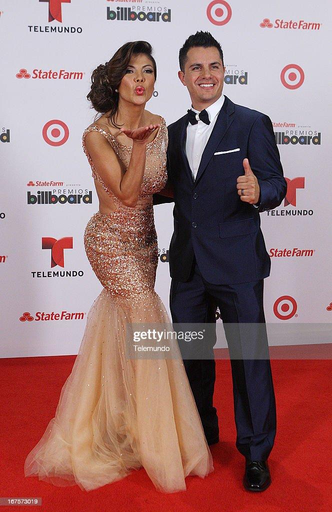 Mirella Grisales & Karim Mendiburu backstage during the 2013 Billboard Latin Music Awards held at the BankUnited Center, University of Miami in Miami, Florida on April 25, 2013 --